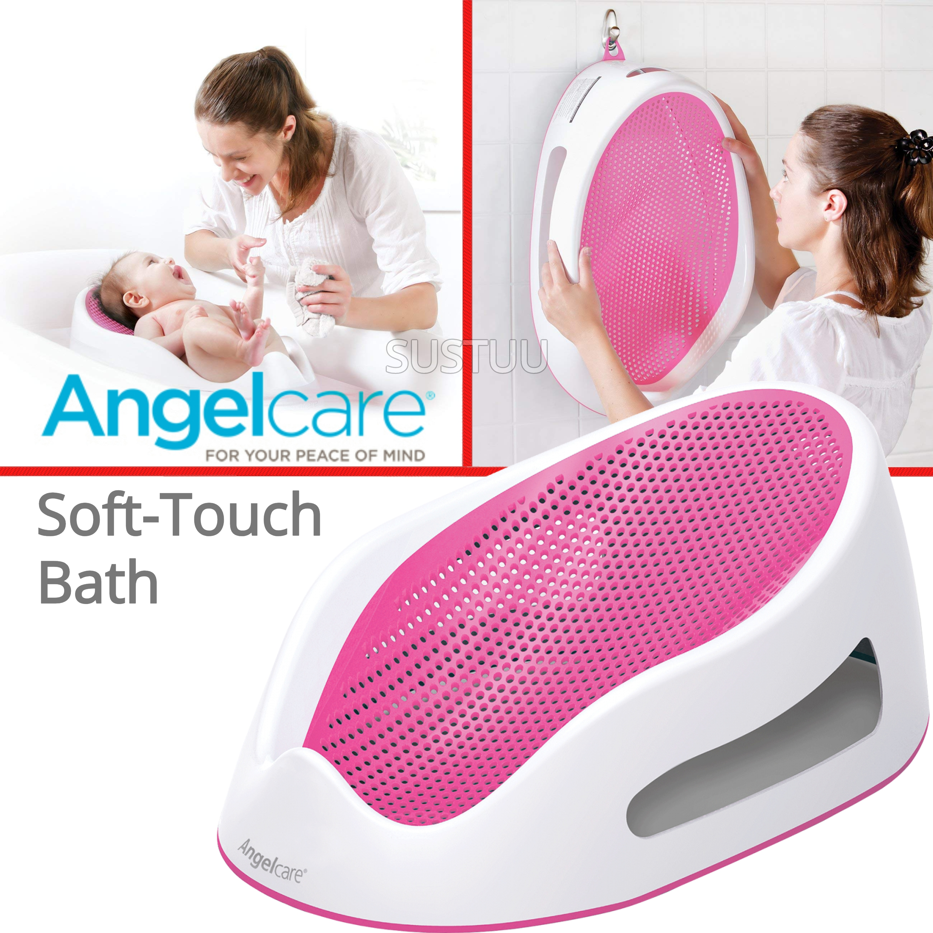Angelcare Soft-Touch Baby Bath Support Pink|Anti Slip|Mould Resistant|14kg Capicity