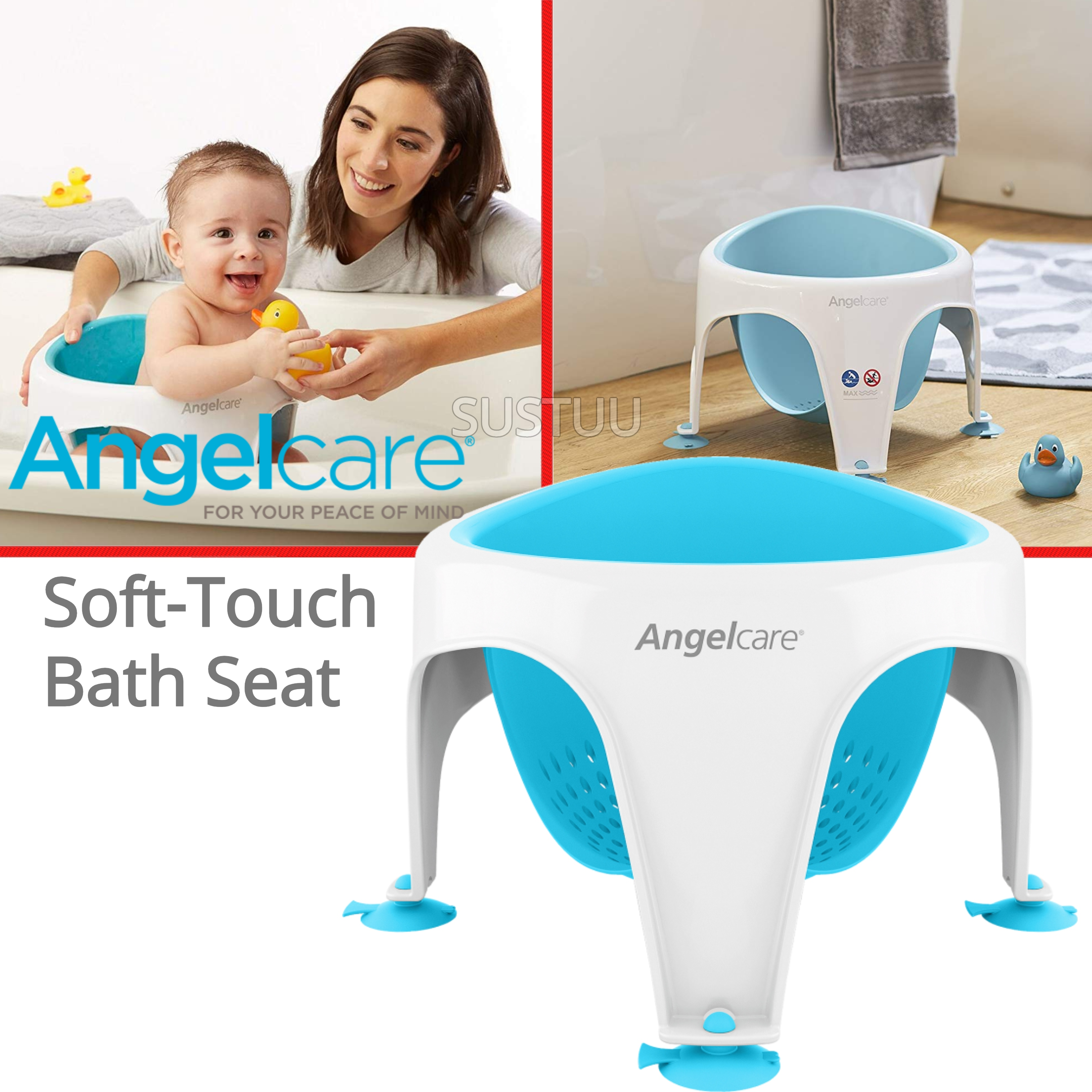 Angelcare Soft-Touch Baby Bath Seat Aqua|Lightweight|TPE Material|12kg Capicity