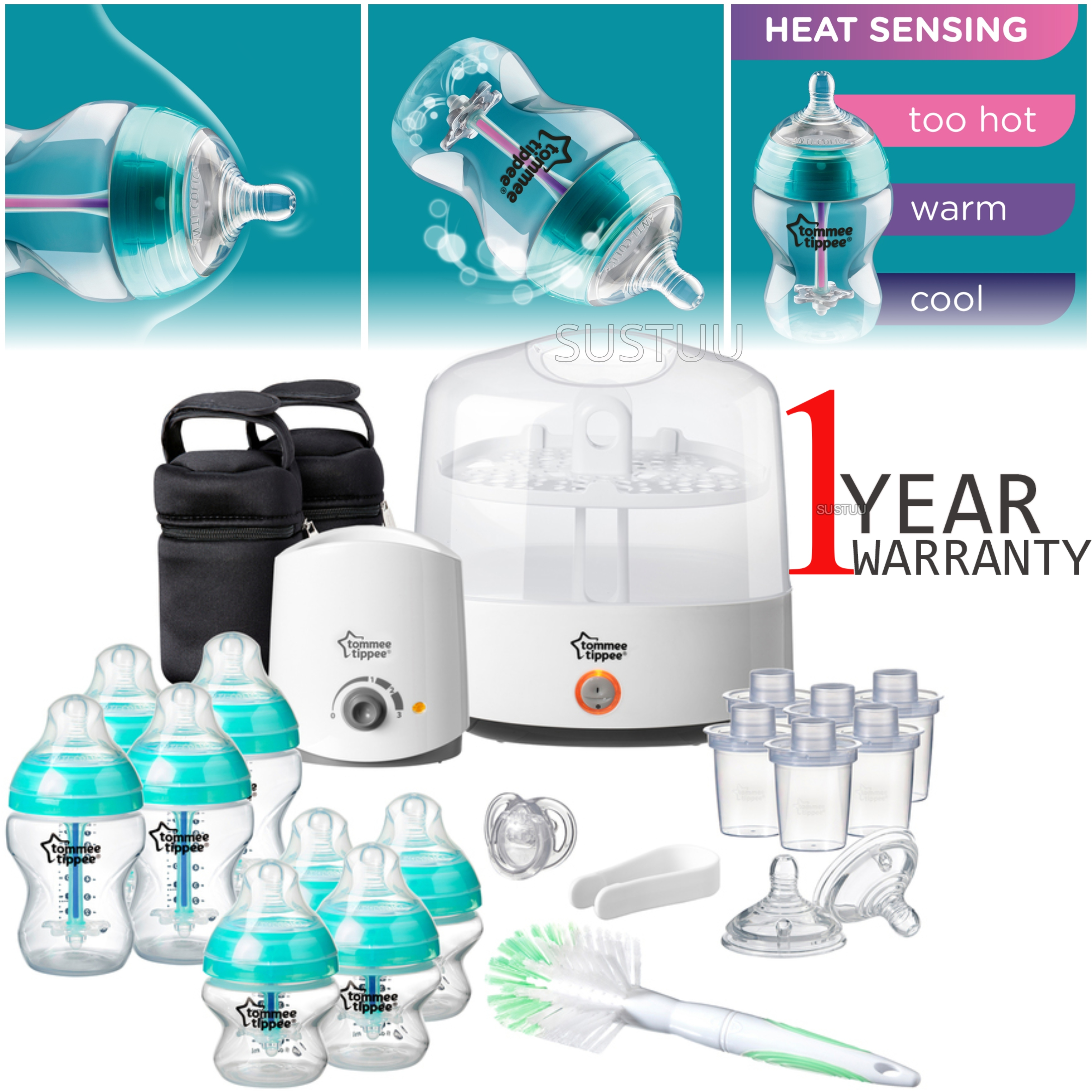 Tommee Tippee Anti-Colic Baby Feeding Set | 23pc Including Electric Steriliser+Bottle Warmer