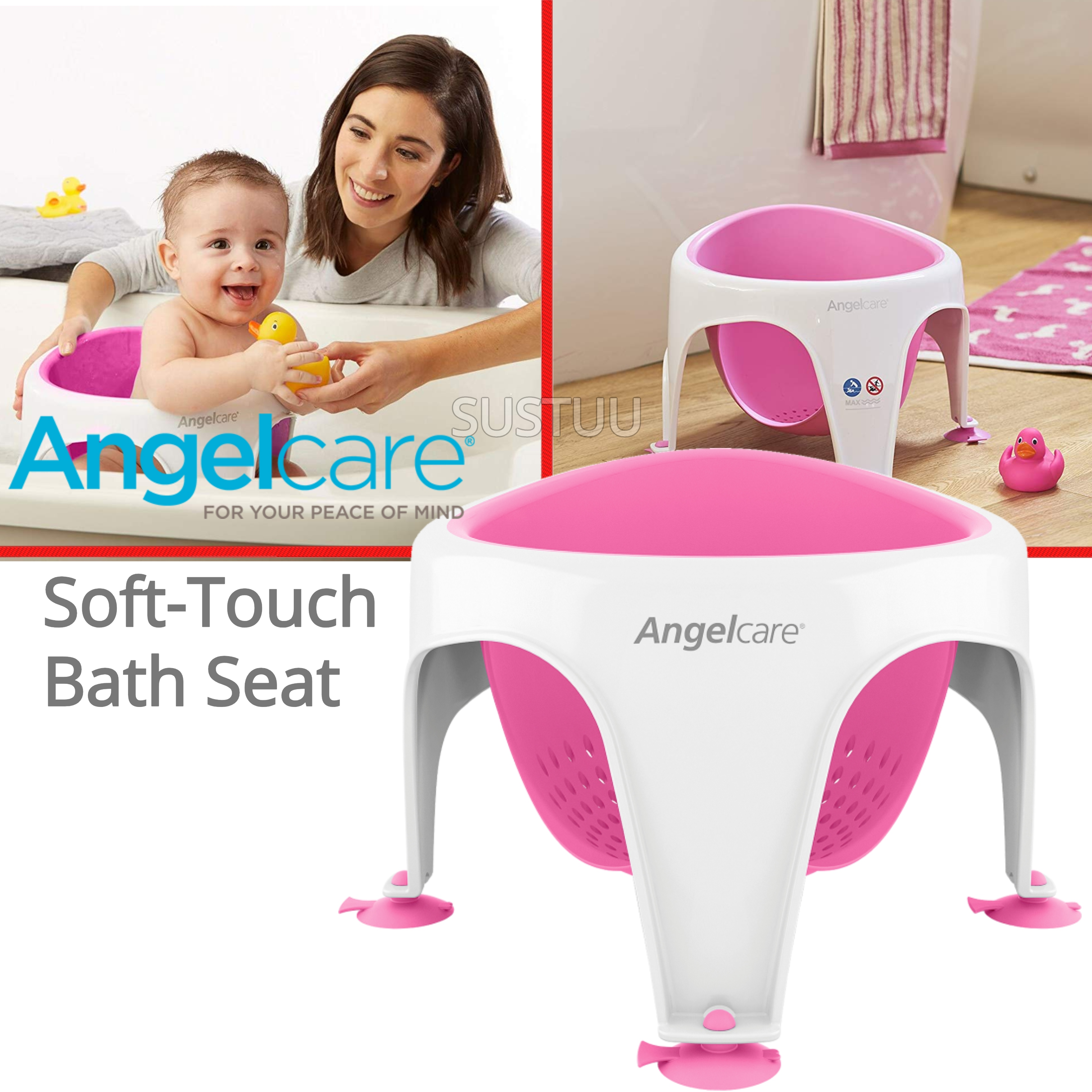 Angelcare Soft-Touch Baby Bath Seat Pink | Lightweight | TPE Material | 12kg Capicity