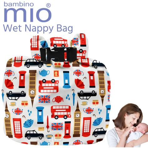 Bambino Mio Wet Nappy Bag Great Britain|Simple Fold|Roll Closure|4 Nappy Holder Thumbnail 1