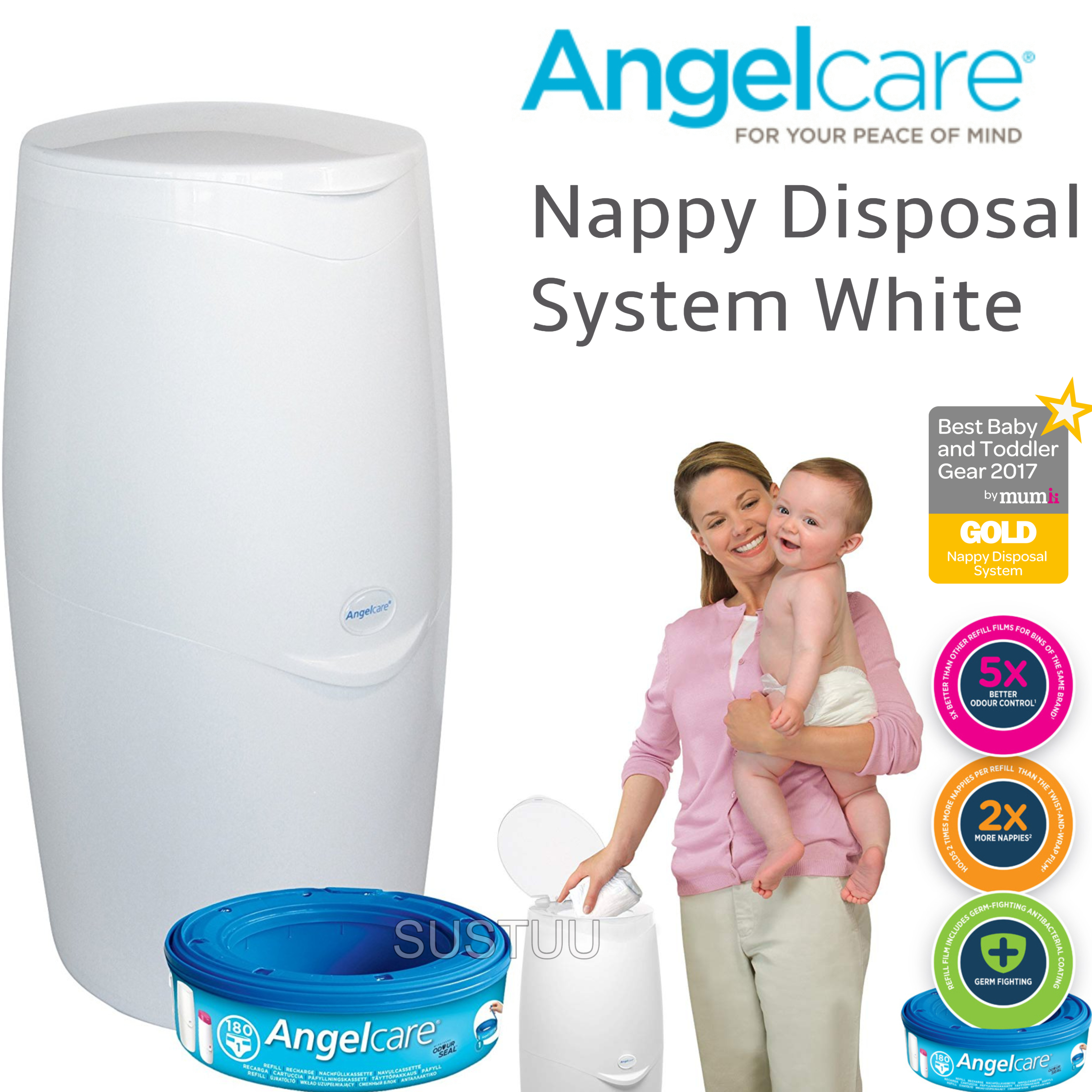 Angelcare Nappy Disposal System|Baby/Kid's Nappies/Diapers Cleaning Bin|White|