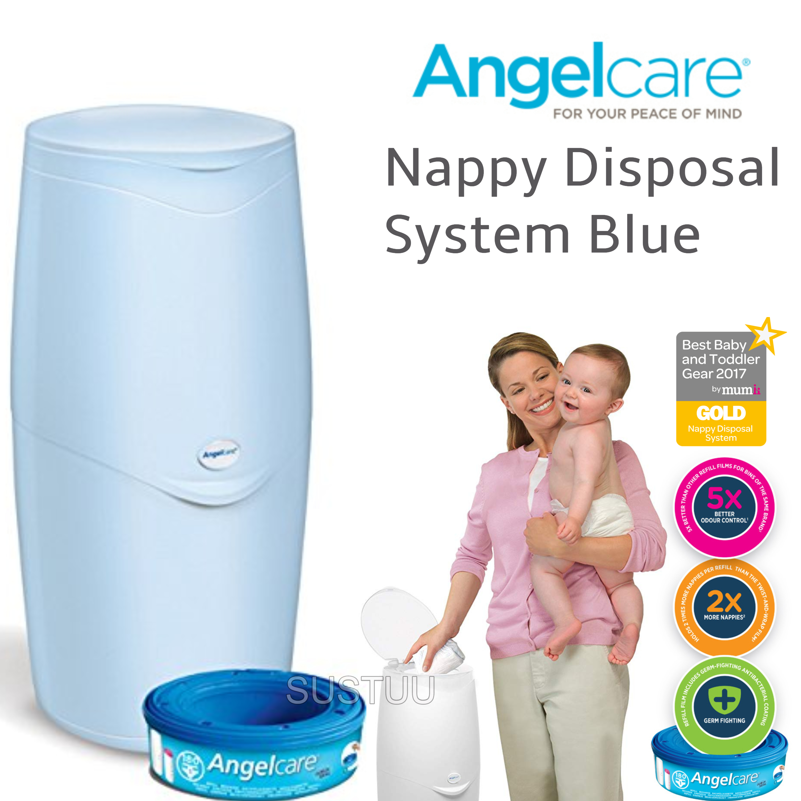 Angelcare Nappy Disposal System|Baby/Kid's Nappies/Diapers Cleaning Bin|Blue|