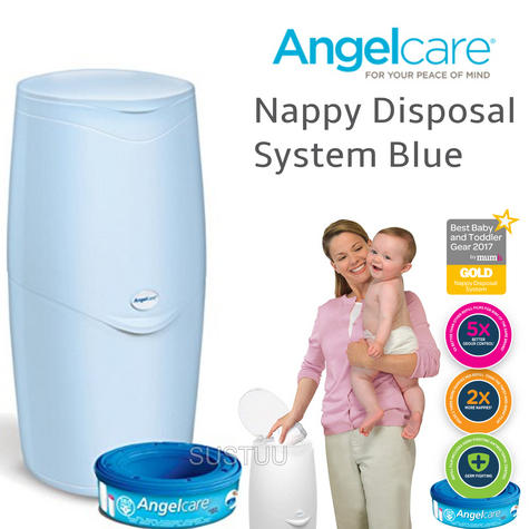 Angelcare Nappy Disposal System|Baby/Kid's Nappies/Diapers Cleaning Bin|Blue| Thumbnail 1