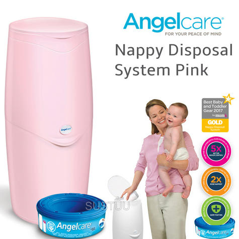 Angelcare Nappy Disposal System|Baby/Kid's Nappies/Diapers Cleaning Bin|Pink| Thumbnail 1