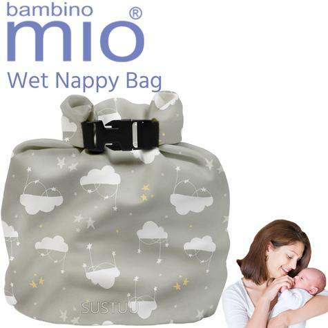 Bambino Mio Wet Nappy Bag Cloud Nine|Simple Fold|Roll Closure|4 Nappy Holder Thumbnail 1