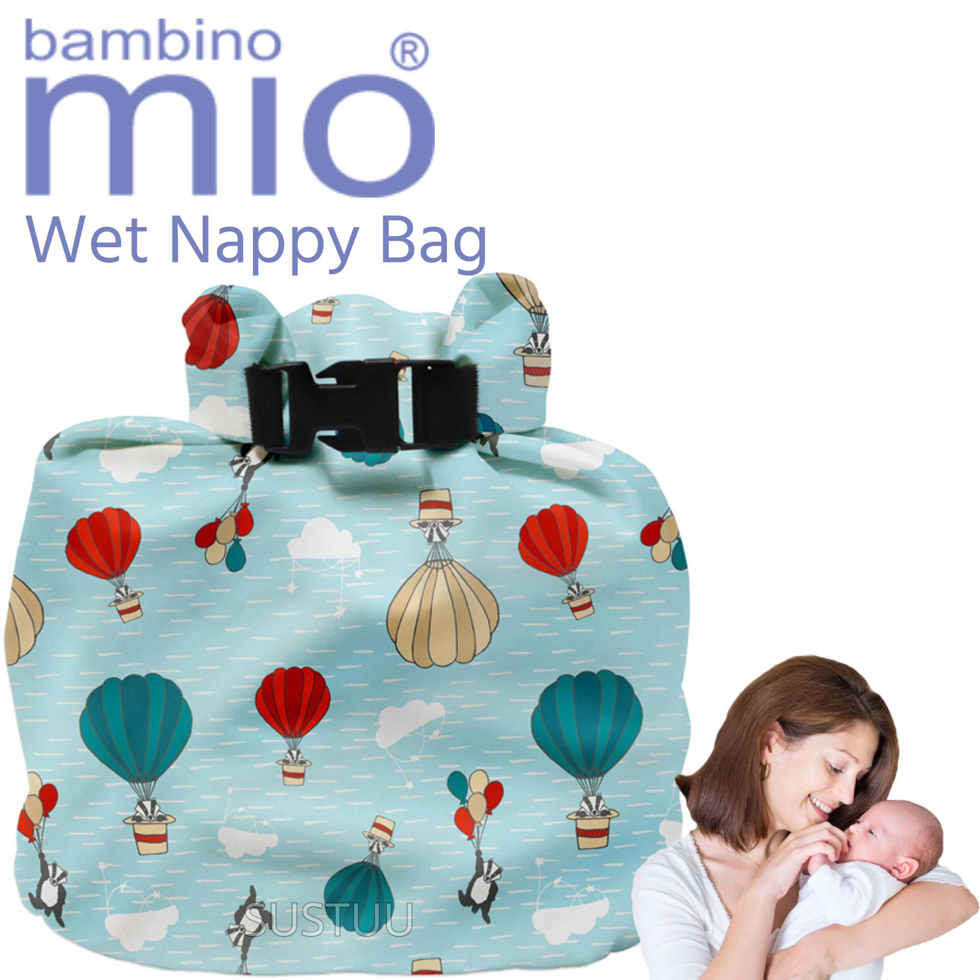 New Bambino Mio Wet Nappy Bag Sky Ride|Simple Fold|Roll Closure|4 Nappy Holder