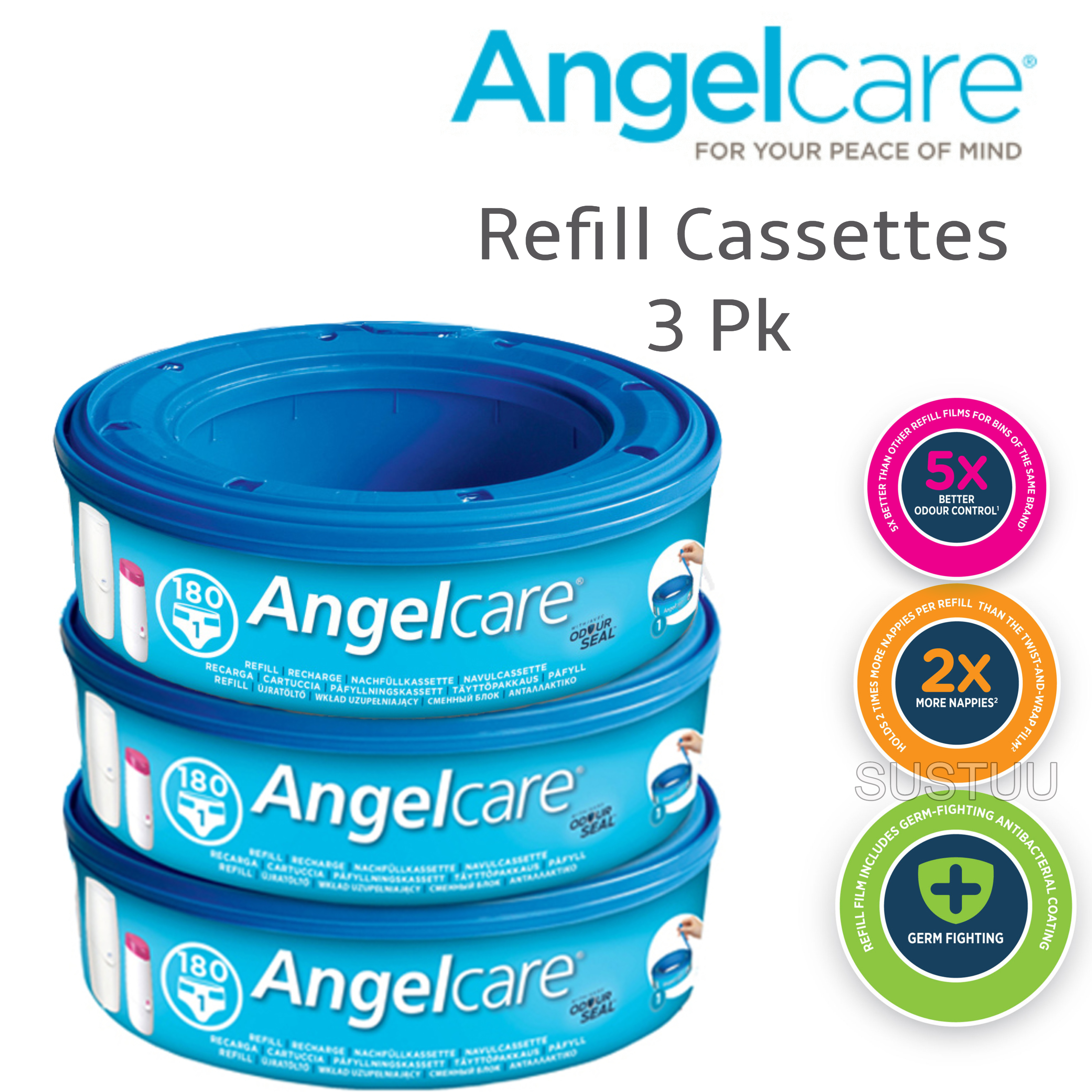 Angelcare Refill Cassettes|Baby/Kid's Nappies/Diapers Cleaning Refill|Pack Of 3