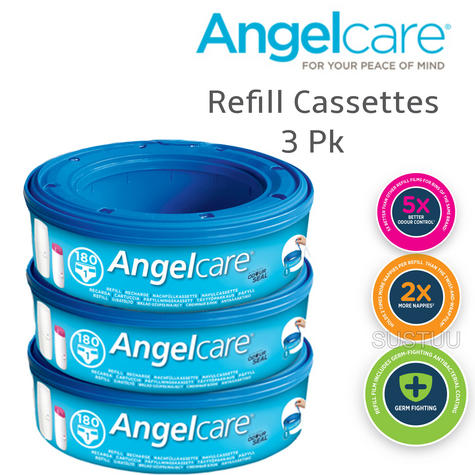 Angelcare Refill Cassettes|Baby/Kid's Nappies/Diapers Cleaning Refill|Pack Of 3  Thumbnail 1