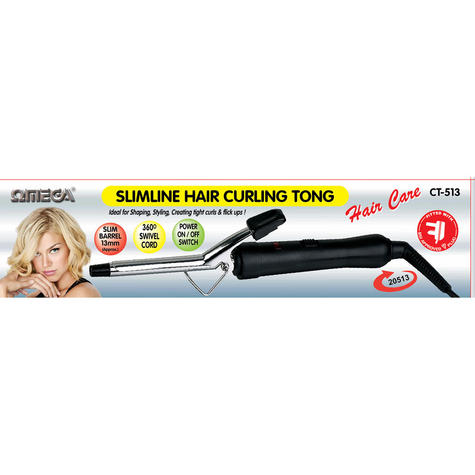 Omega Slimline Hair Curling Tong | 13mm Barrel | Power On/Off Switch | 360° Swivel Cord Thumbnail 3