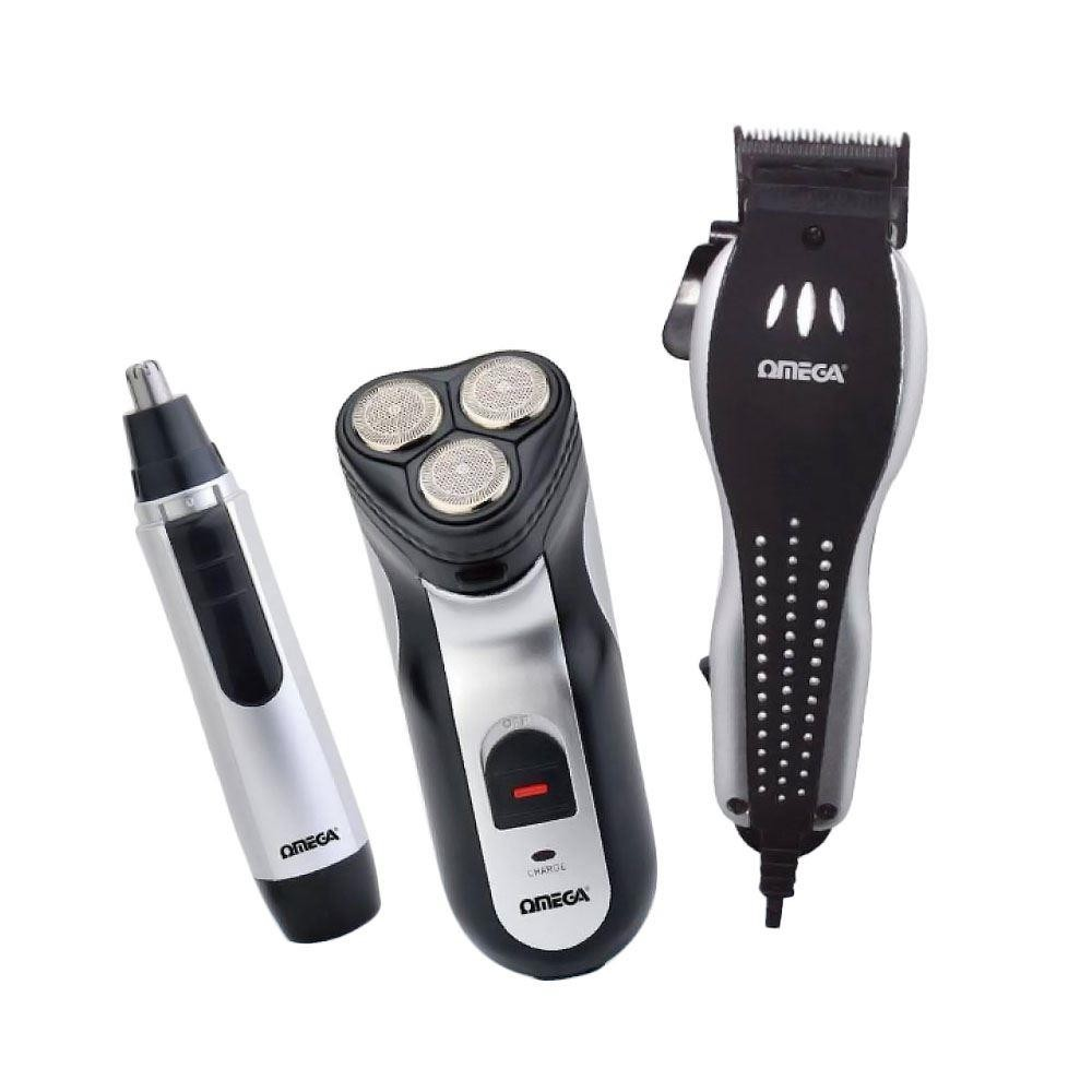 Omega Gents Grooming Set | Corded Hair Clipper- Rechargeable Shaver & Nose Trimmer