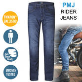 PMJ Rider Motorcycle Mens Slim Fit Jeans|EN 13595-2 Tested|100% TWARON|Mid Blue