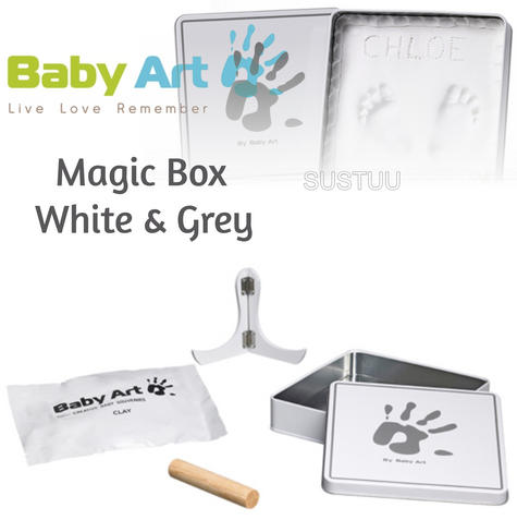 Baby Art Magic Box White & Grey?Baby/Kids Hand/Foot Round Print?Baby Shower Gift Kit? Thumbnail 1