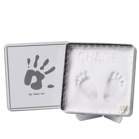 Baby Art Magic Box White & Grey?Baby/Kids Hand/Foot Round Print?Baby Shower Gift Kit? Thumbnail 3