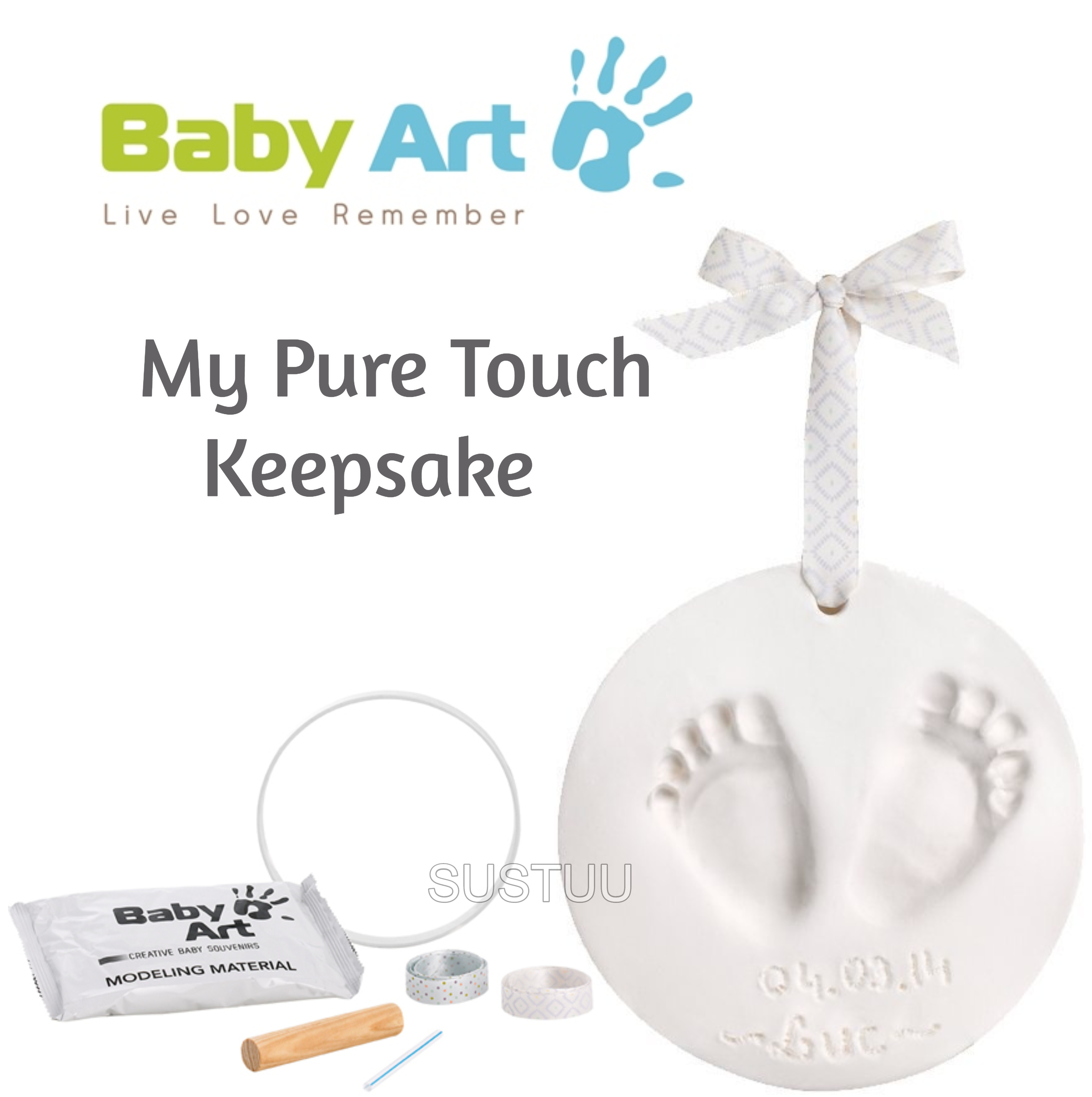 Baby Art My Pure Touch Keepsake|Kid's Round Footprint & Handprint Kit Set|0-3y|