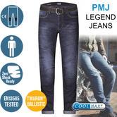 PMJ Rider Motorcycle Mens Slim Fit Jeans|EN 13595-2 Tested|100% TWARON|Mid Blue