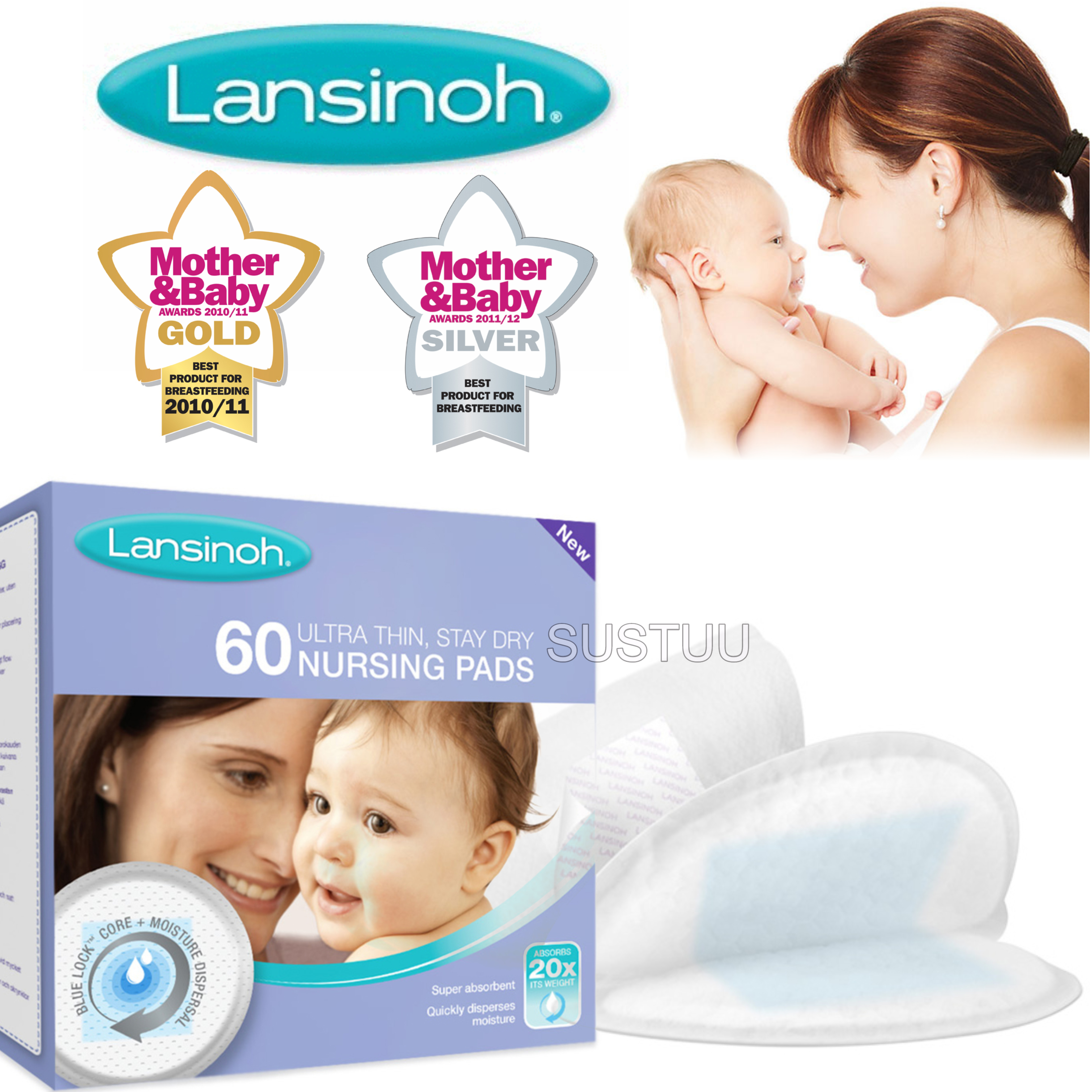 Lansinoh Disposable Nursing Pads|for Maternity Breastfeeding Mothers|Pack Of 60|