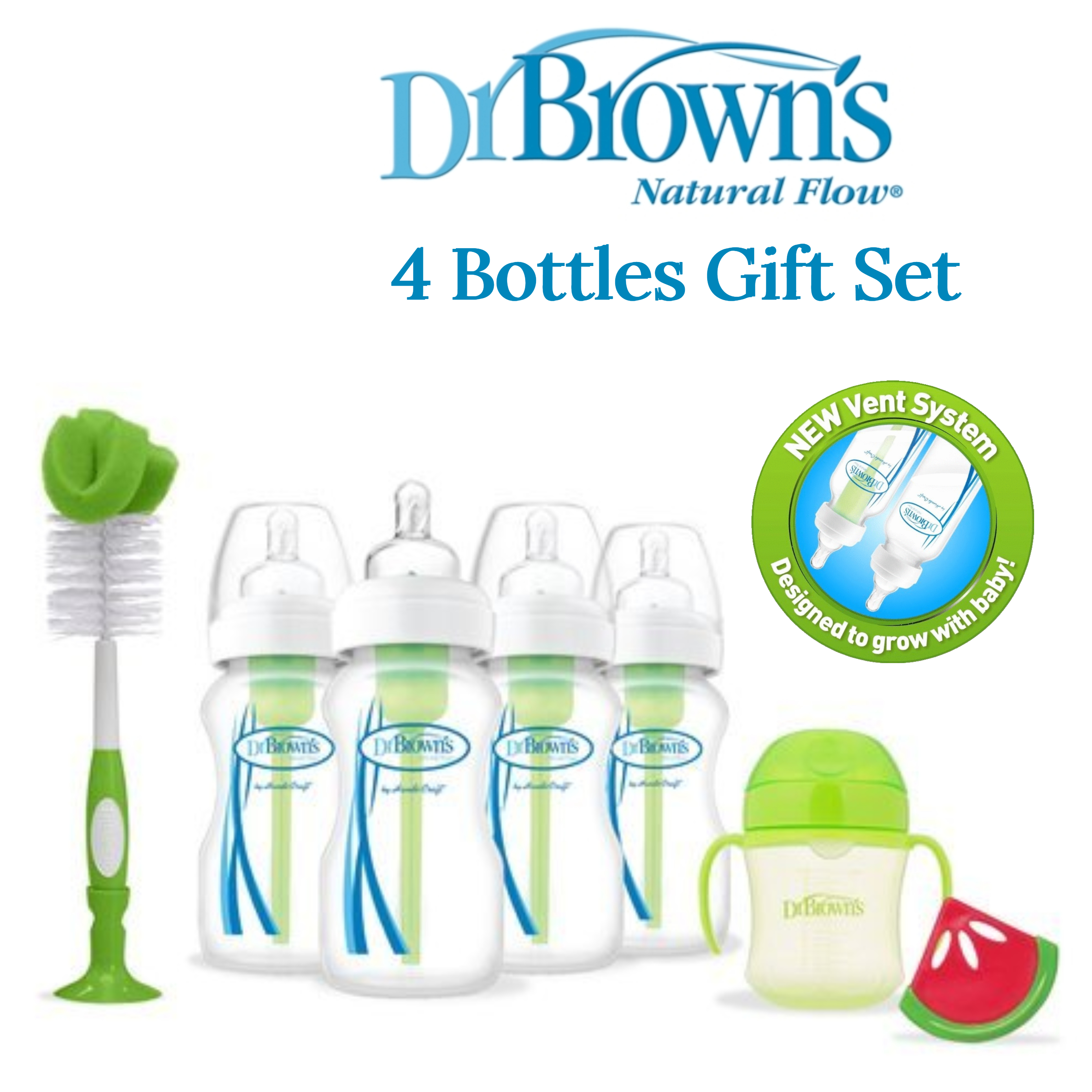 Dr Browns Baby Feeding 4 Bottle Gift Set|Wide Neck|Natural Flow|BPA Free|Green