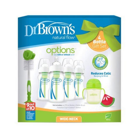 Dr Browns Baby Feeding 4 Bottle Gift Set|Wide Neck|Natural Flow|BPA Free|Green Thumbnail 3