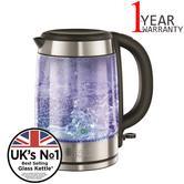 Russell Hobbs 21600-10 UK NO.1 Illuminating Glass Kettle | 1.7 Litre| 3000 Watt | Blk
