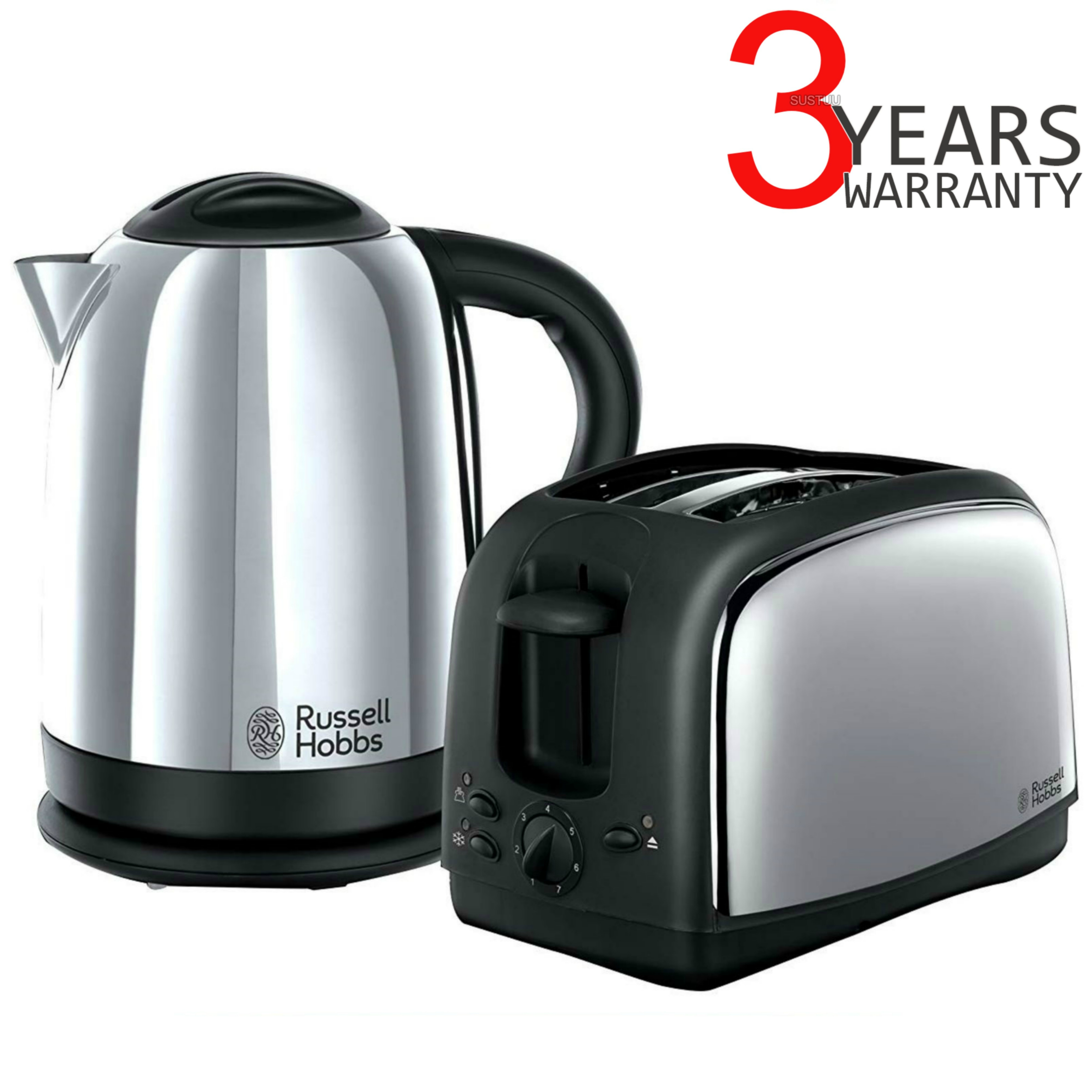 Russell Hobbs 21830 Lincoln Twin Pack 2 Slice Toaster & 1.7 Litre Kettle - Silver