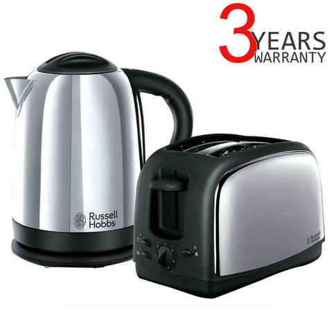 Russell Hobbs 21830 Lincoln Twin Pack 2 Slice Toaster & 1.7 Litre Kettle - Silver Thumbnail 1