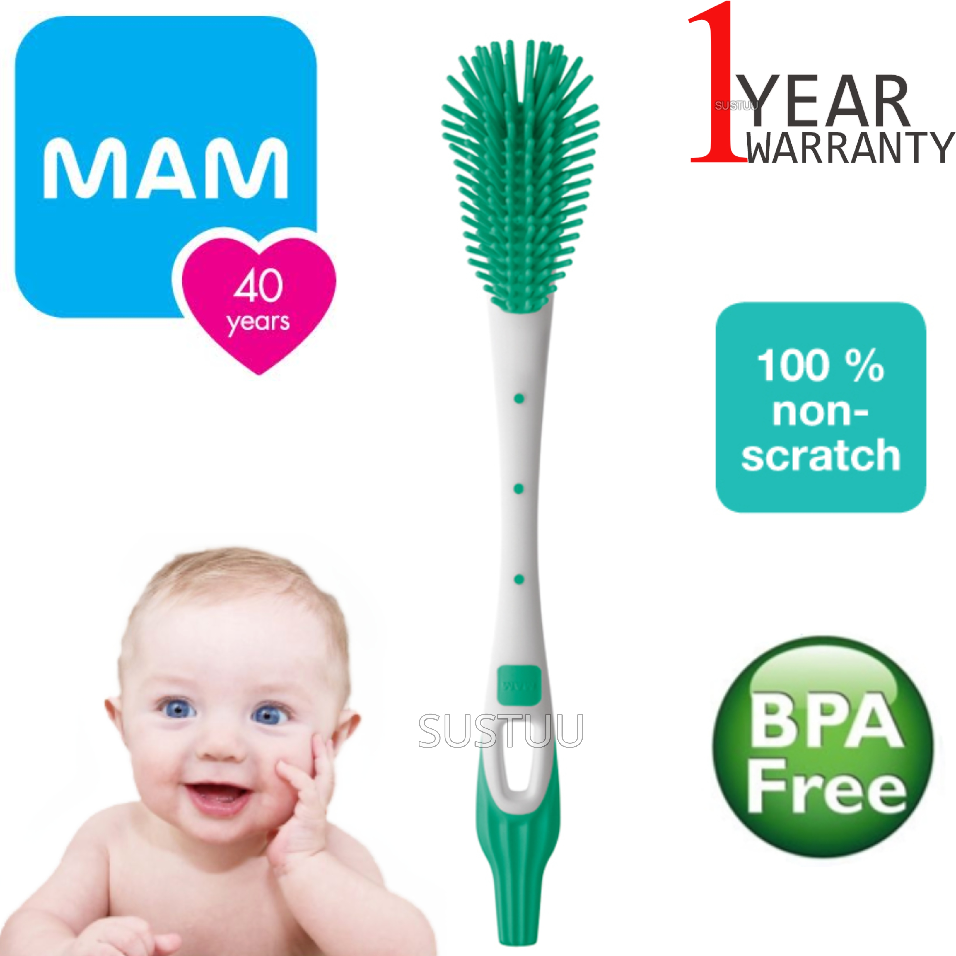 MAM Soft Bottle Brush with 100/% Non-Scratch Bristles