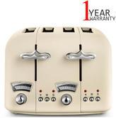 Delonghi Argento Flora 4 Slice Toaster 1600W | Frozen Bread Setting | Re-Heat Button