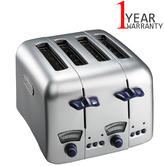 Delonghi rgento Retro Style Stainless Steel 4 Slice Toaster | Neon Indicator | 1600W
