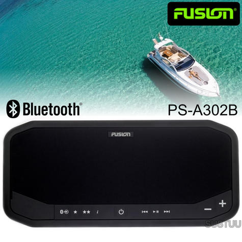 Fusion PS-A302B Marine Panel Stereo|AM/FM/BT/USB/Aux/LineOut|140W 10A|IP65|Black Thumbnail 1
