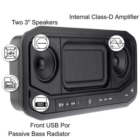 Fusion PS-A302B Marine Panel Stereo|AM/FM/BT/USB/Aux/LineOut|140W 10A|IP65|Black Thumbnail 3