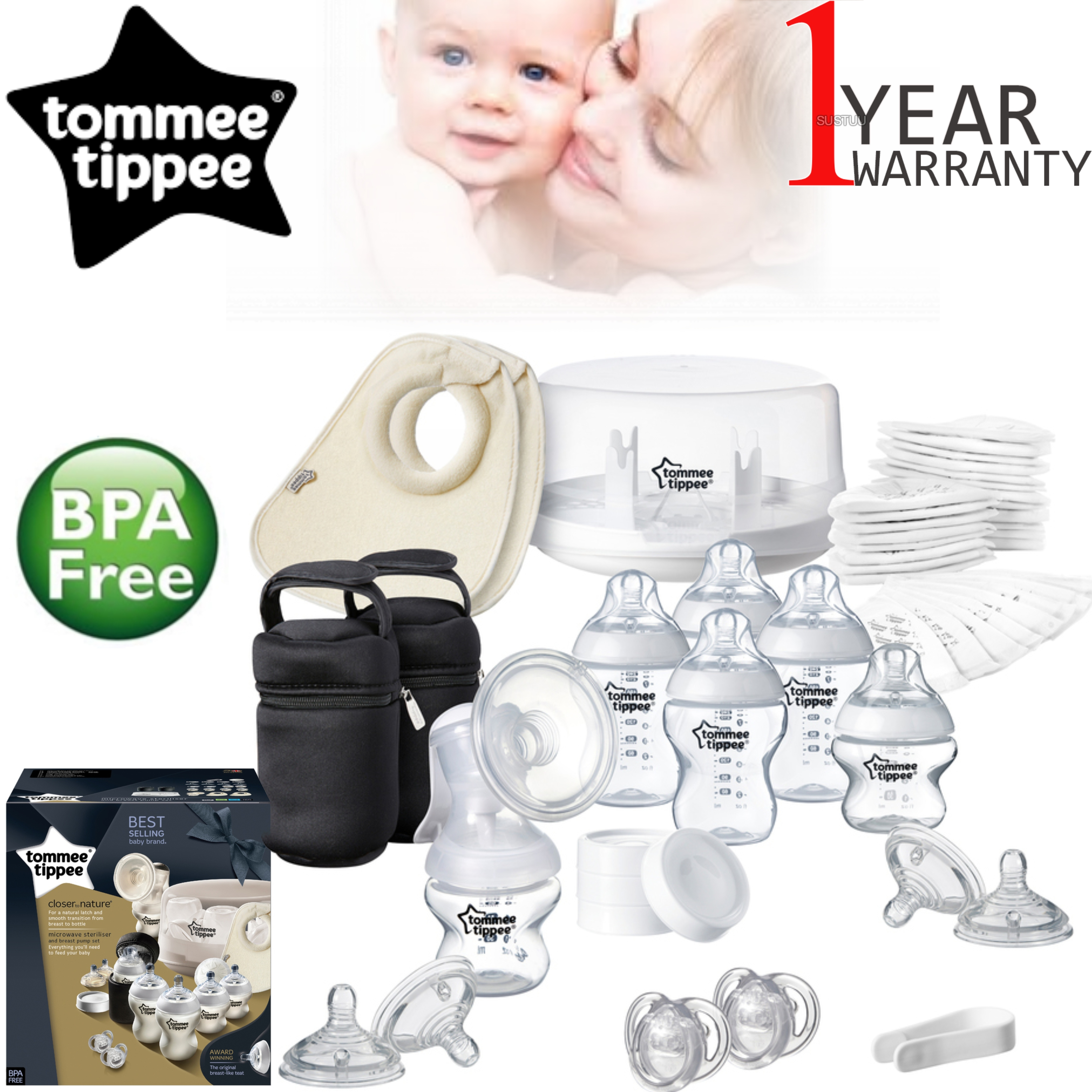 Tommee Tippee Closer to Nature Microwave Steriliser+Manual Breast Pump | Baby Care