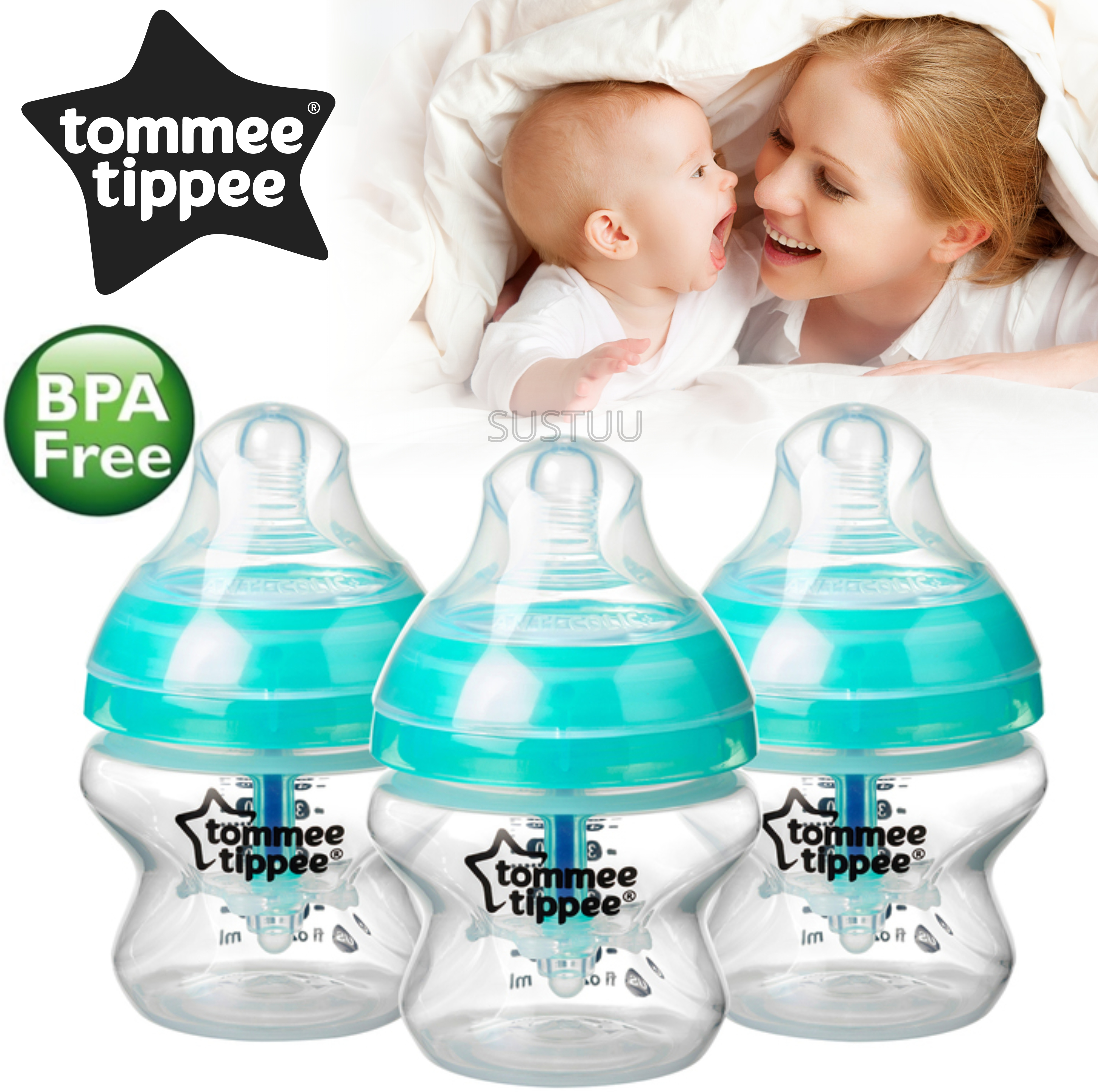 Tommee Tippee Advanced Anti-Colic Baby Feeding Bottle 150ml | Heat Sensing | 3 Pack