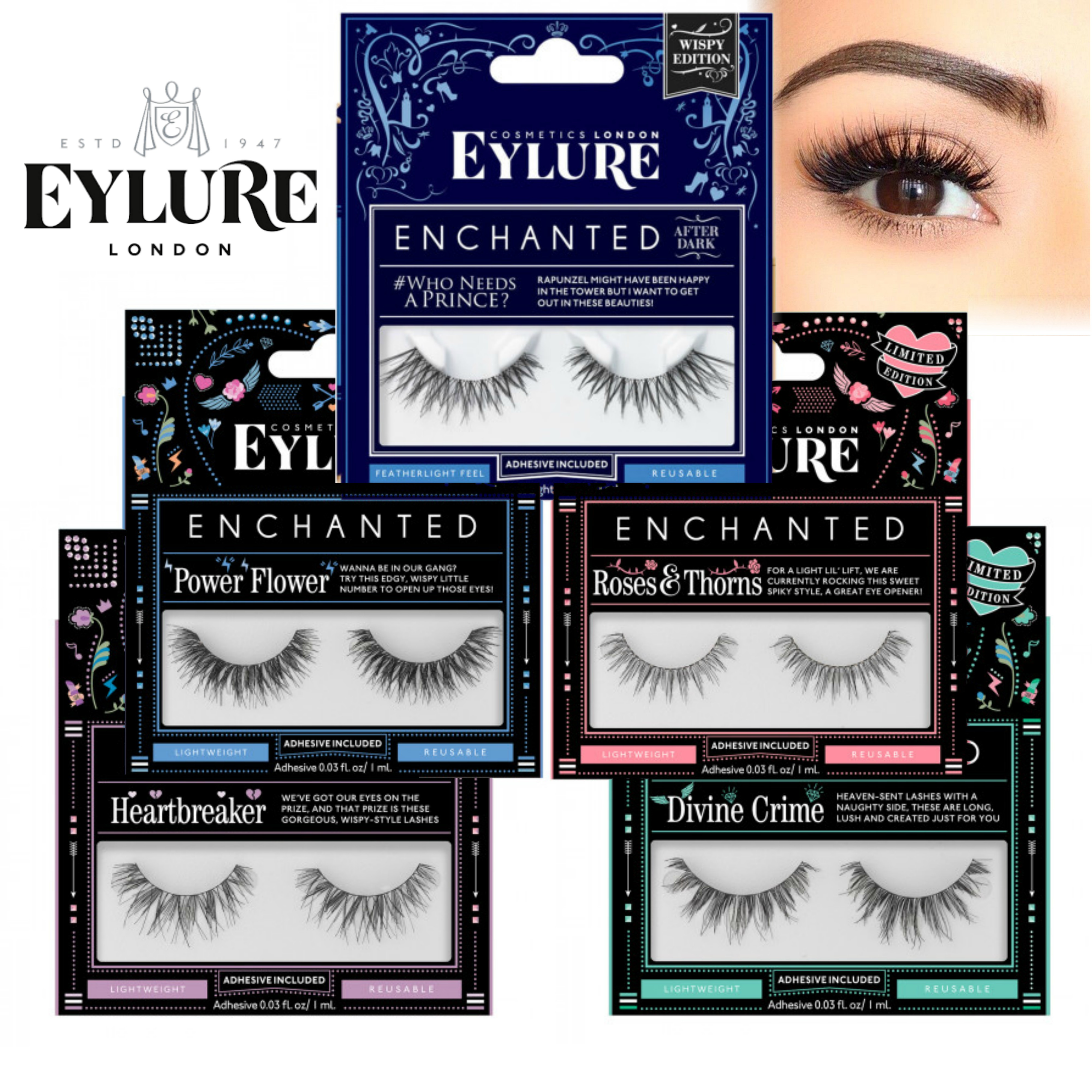 Eylure Enchanted Reusable Ladies Lashes|Adhesive Strip Volume|Variation Style