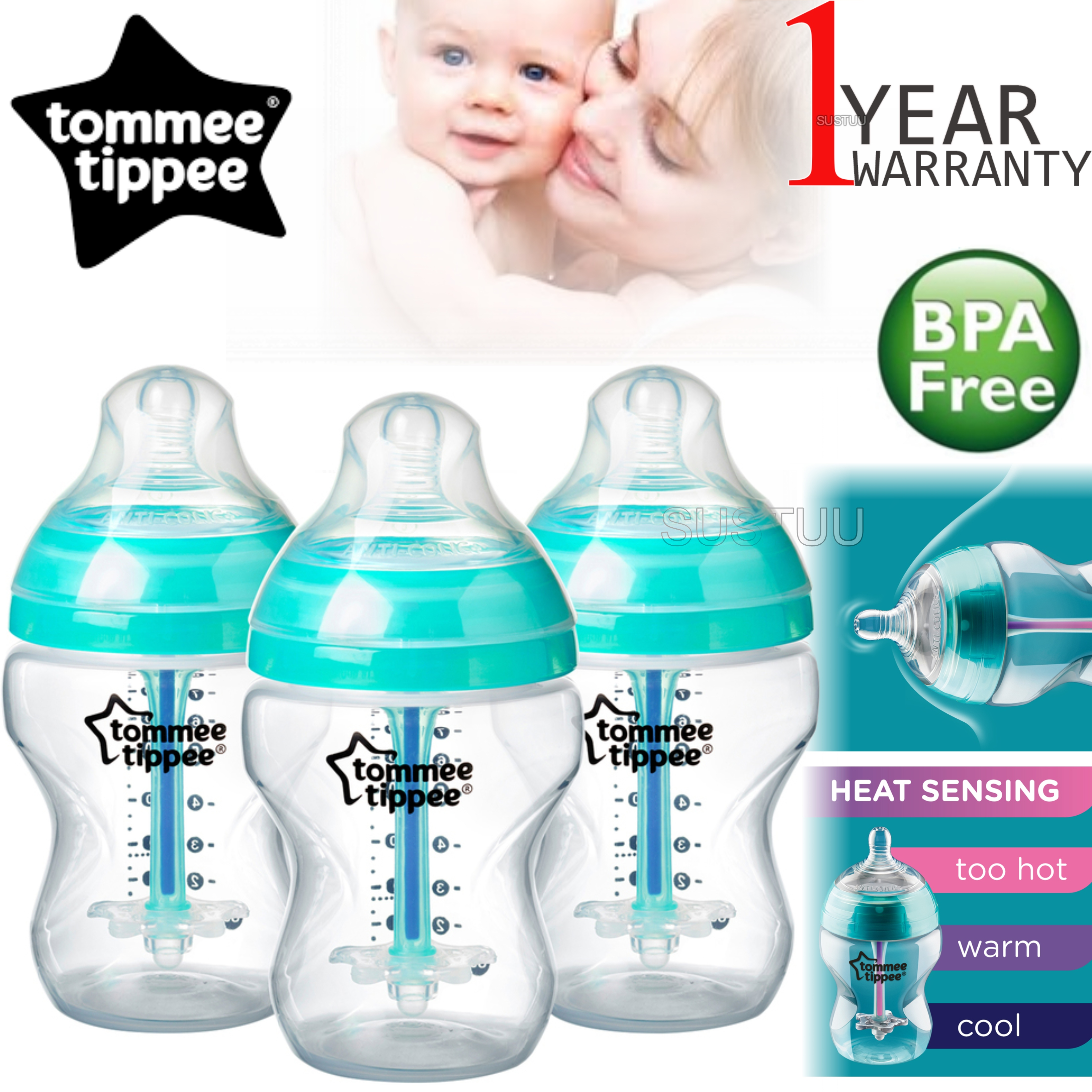 Tommee Tippee Advanced Anti-Colic Baby Feeding Bottle 260ml | Heat Sensing | 3 Pack