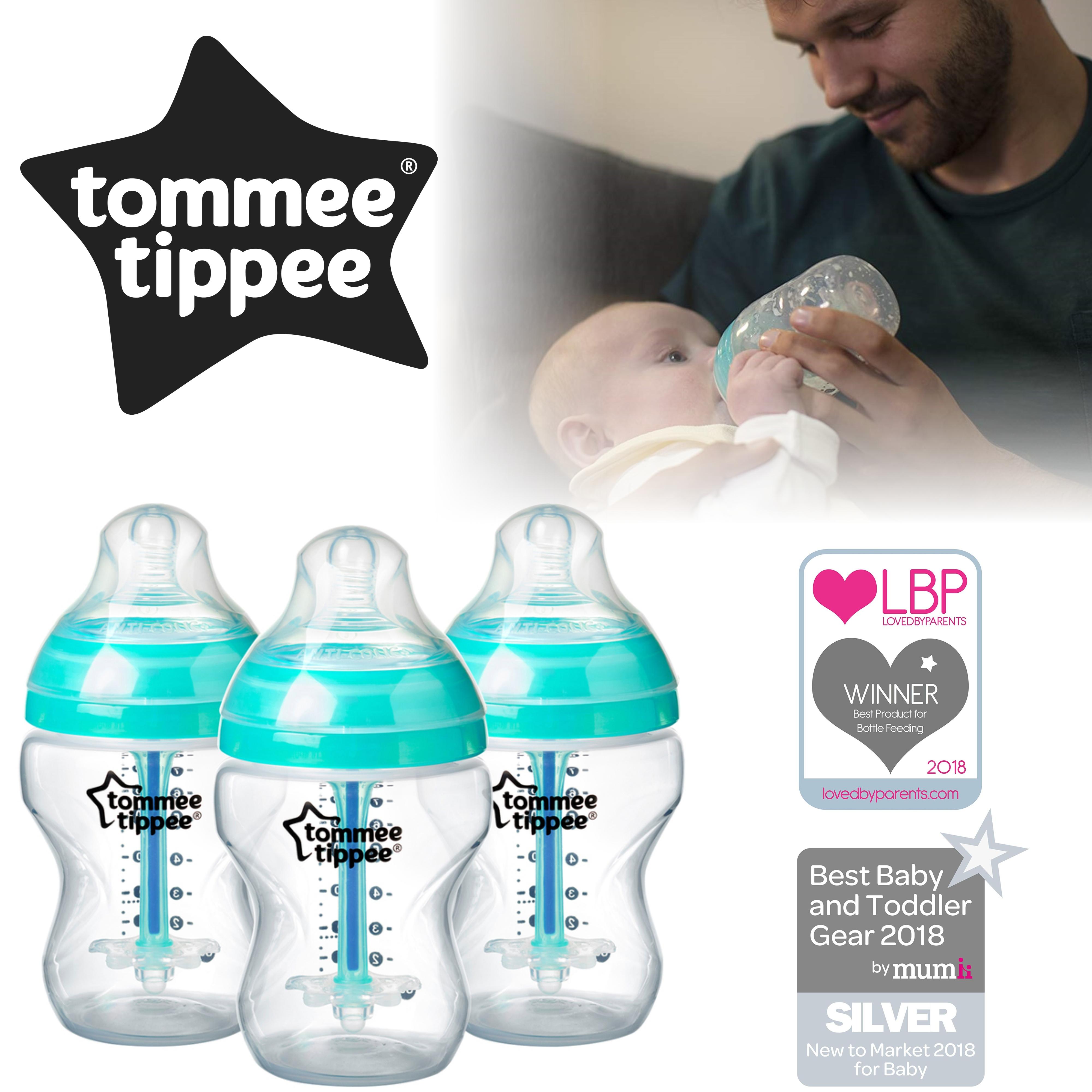 Tommee Tippee Advanced Anti-Colic Baby Feeding Bottle 260ml | Heat Sensing | 3 Pack