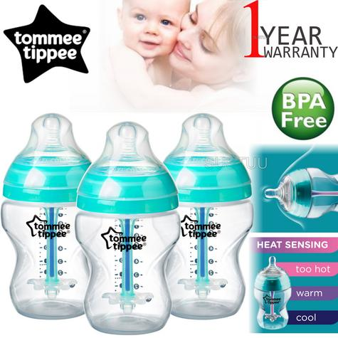 Tommee Tippee Advanced Anti-Colic Baby Feeding Bottle 260ml | Heat Sensing | 3 Pack Thumbnail 1