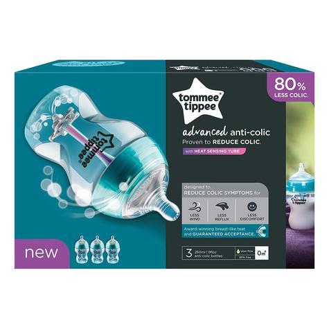 Tommee Tippee Advanced Anti-Colic Baby Feeding Bottle 260ml | Heat Sensing | 3 Pack Thumbnail 3