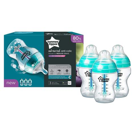 Tommee Tippee Advanced Anti-Colic Baby Feeding Bottle 260ml | Heat Sensing | 3 Pack Thumbnail 4