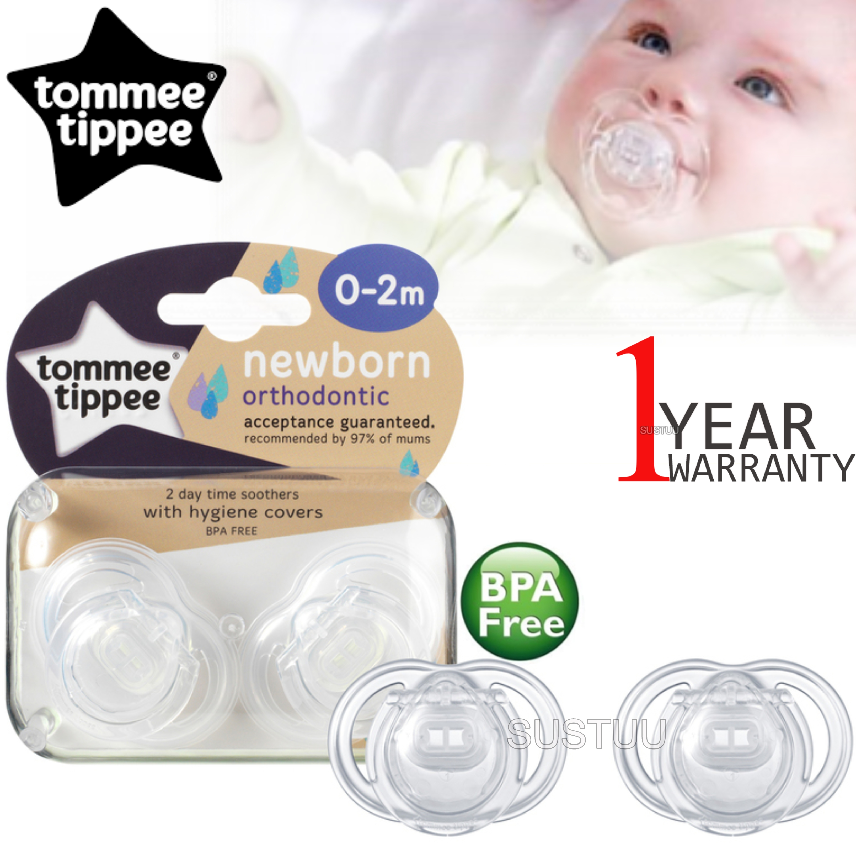 Tommee Tippee Closer to Nature Newborn Soother 0-2m 2Pk | Dummy With Hygiene Cover