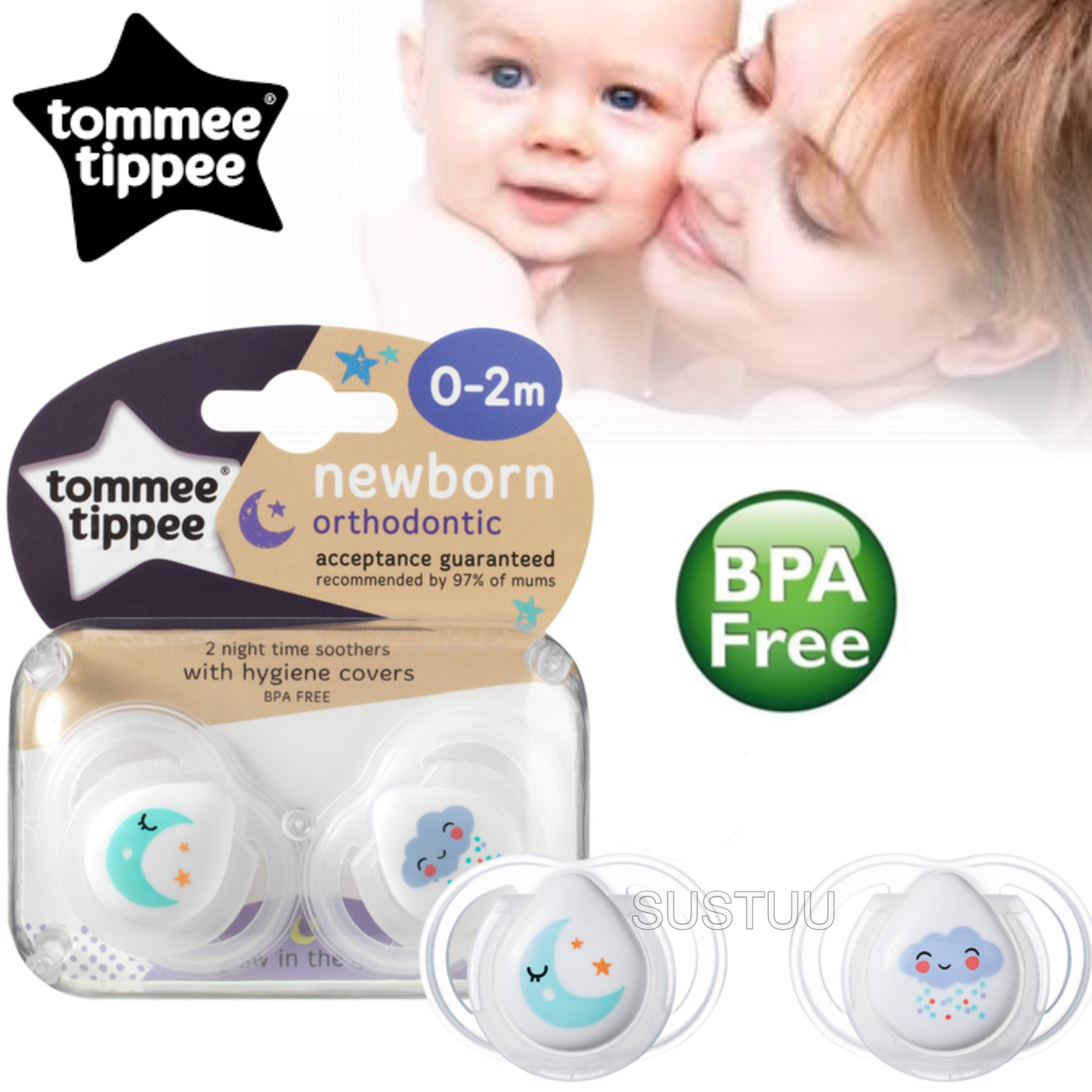 Tommee Tippee Closer to Nature Newborns Night Time Soother 0-2m | Dummy | Pack Of 2