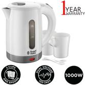 Russell Hobbs 23840 Compact Travel Kettle + Cup/Spoon | 1000 W | 0.85L | Plastic | White