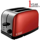 Russell Hobbs RU-18781 Dorchester Wide Sloat 2-Slice Toaster | Stainless Steel | Red