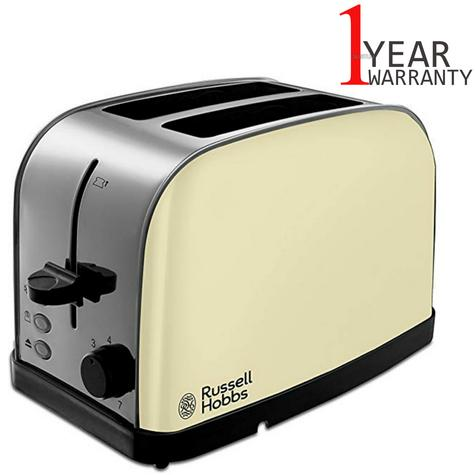 Russell Hobbs 18783 Dorchester Wide Sloat 2-Slice Toaster | Stainless Steel | Cream Thumbnail 1