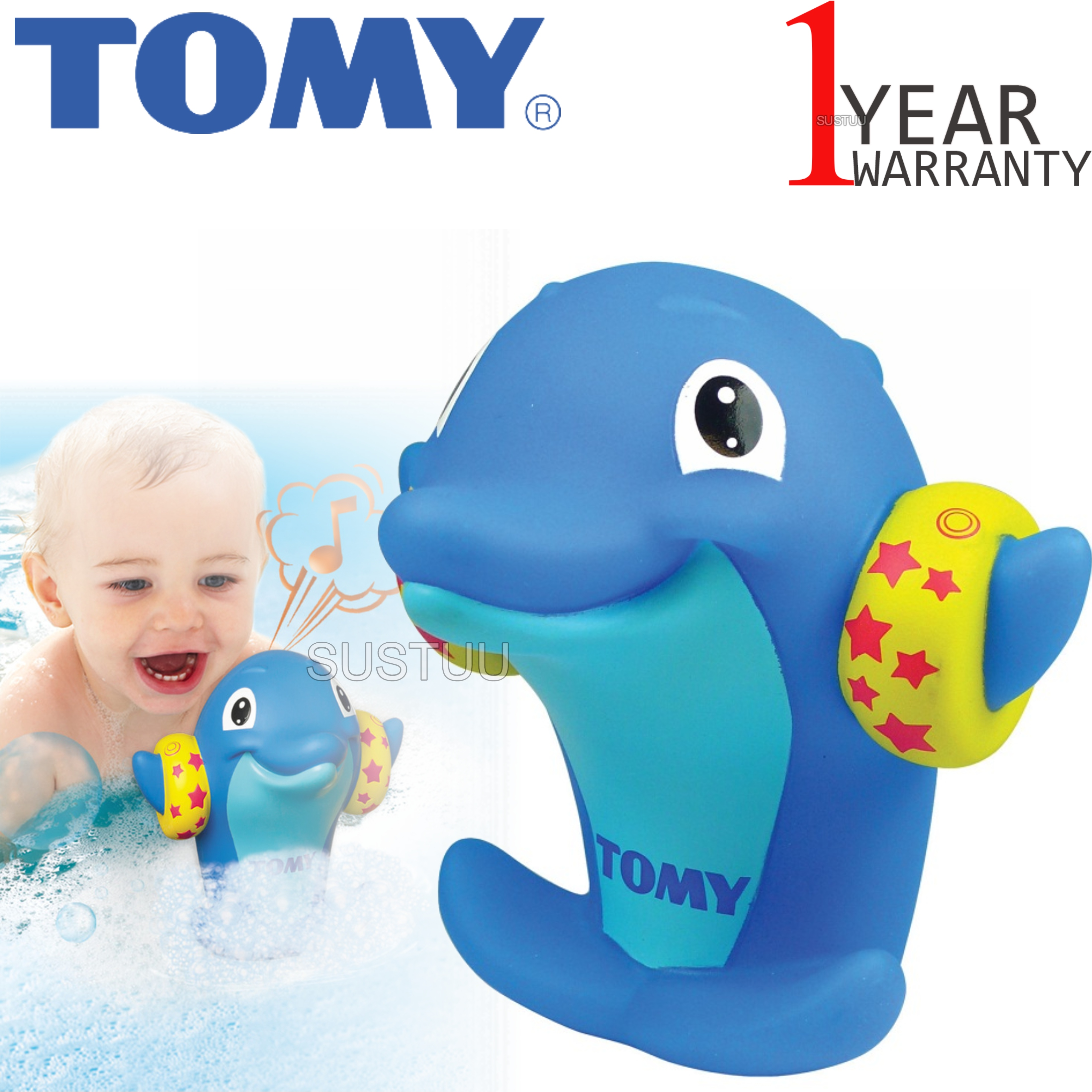 Tomy Bath Squirters Water Whistlers | Toddler/Kids Bath Time Fun Toy With Dolphin