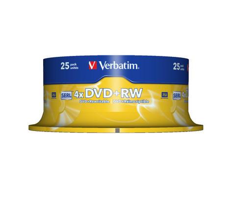 Verbatim 43489 4.7GB 4x 120min DVD+RW - ReWriteable Matt Silver | 25 Pack Spindle Thumbnail 2