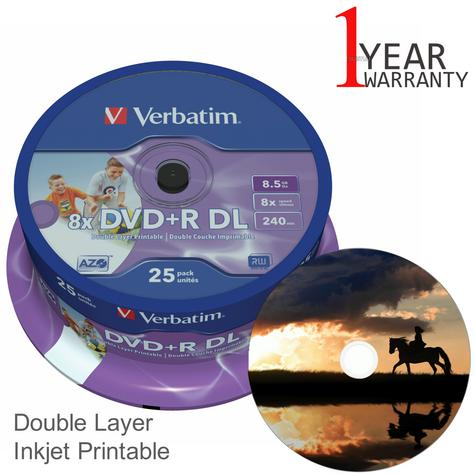Verbatim 43667 DVD+R 8.5GB 8x DL 240min Printable Dual Layer | 25 Pack | Matt Silver Thumbnail 1