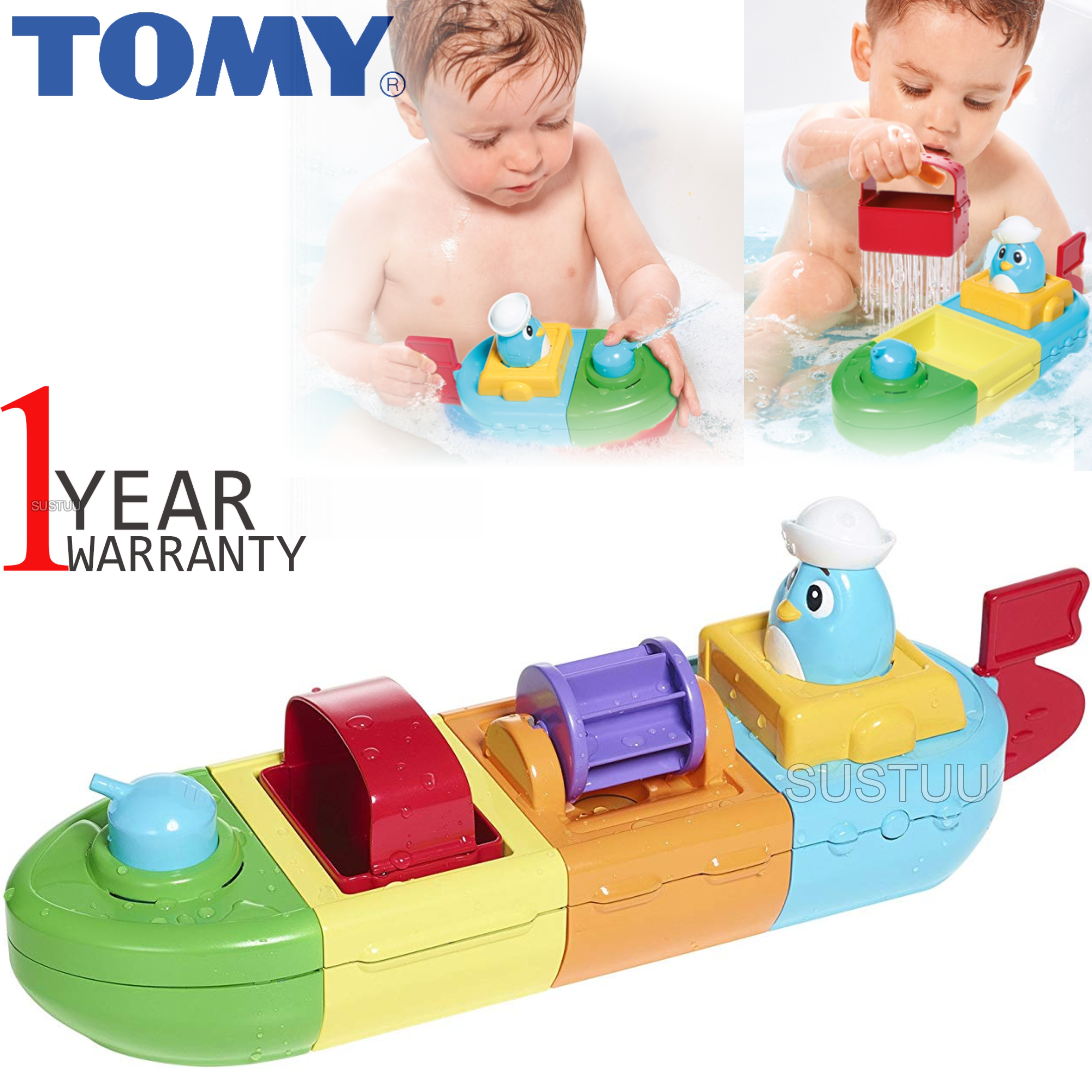 Tomy Mix & Match Motor Boat | Preschool Childrens Bath Time Toy With Spinning Drum