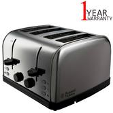 Russell Hobbs 18790 4-Slice Futura Toaster | Frozen Bread Function | Stainless Steel