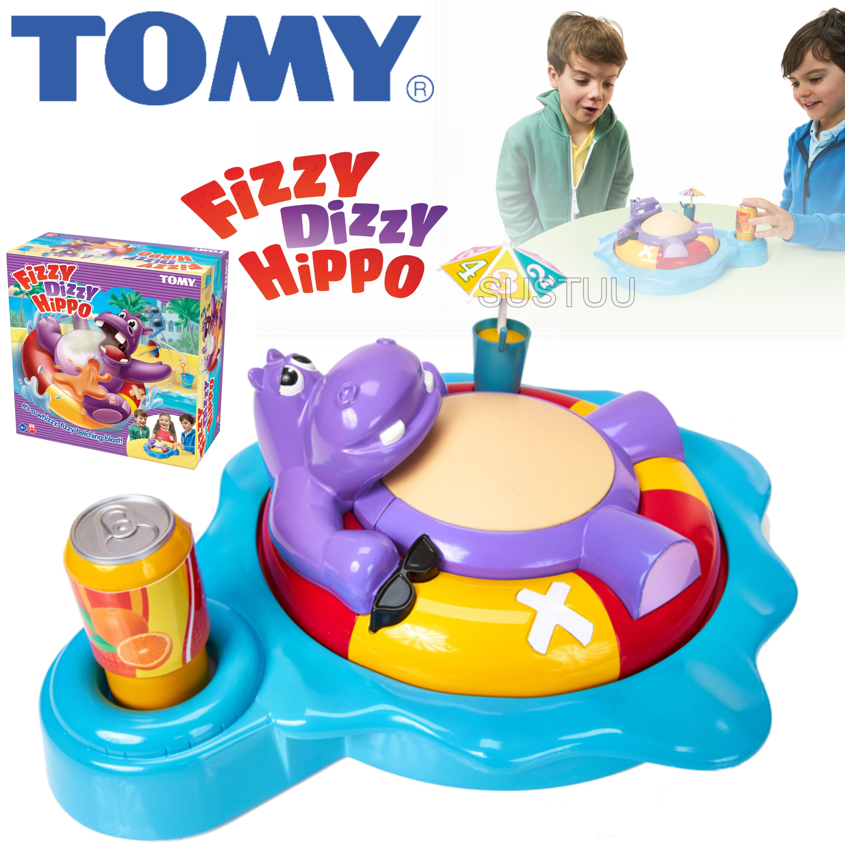 Tomy Fizzy Dizzy Hippo | Childrens Preschool Fun+Action Game With Sound | 2-4 Player